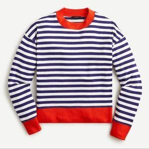 NWT J Crew Supercozy Mock Neck Pullover Stripe